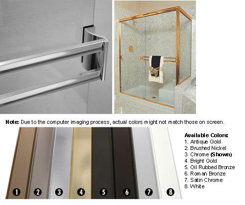 Satin Chrome Sliding Frameless Shower Door Double Towel