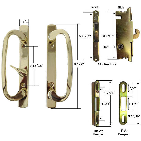 Sliding Glass Patio Door Handle Kit with Mortise Lock and Keeper, Brass-Plated,  - $102.45