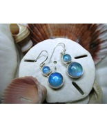 Sterling Silver Blue Moonstone Movable Dangle Earrings 5.16g  - $20.00