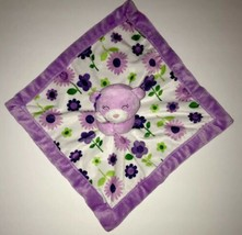 Carters Purple Bear Floral Flowers Security Blanket Velour Lovey Toy - $14.01