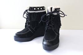 b1d535dddf451 NEW! Sam Edelman Black Suede Leather Fringe Studded Kemper Boots 8 M  150 -   108.00
