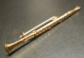 Clarinet Hat or Lapel Pin Gold Colored Metal About 2 1/4 Inches Long - $6.99