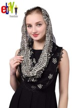 Black  Gold Embroidered Infinity Veil Traditional Vintage Inspired Wrap ... - $16.82