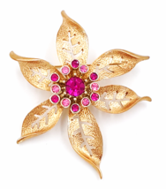 Sarah Coventry Flower Brooch  Vintage Pink Rhinestone Center Cluster  La... - $14.00