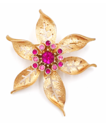 Sarah Coventry Flower Brooch  Vintage Pink Rhinestone Center Cluster  La... - £11.06 GBP