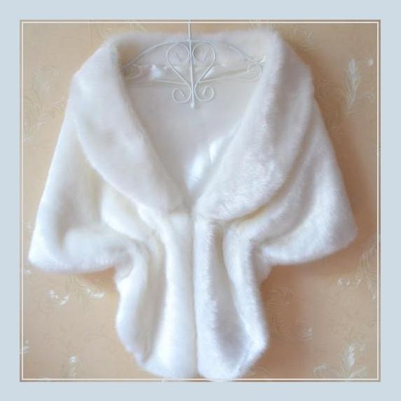 Bridal White Mink Faux Fur Stole Cape with Collar