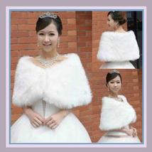 White Ivory Faux Fur Wrap Bridal Shrug Capet