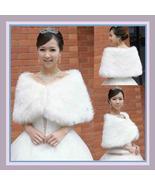 White Ivory Faux Fur Wrap Bridal Shrug Capet - $53.21