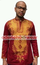 Odeneho Wear Men's Polished Cotton Top/Gold Embroidery. African Clothing. - $84.15+