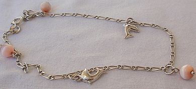 Mini dolphins silver pink anklet