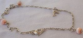 Mini dolphins silver pink anklet thumb200