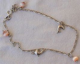 Mini dolphins silver pink anklet 2 thumb200