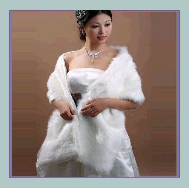 Primary image for DiVA Classic Long White Ivory Mink Faux Fur Wrap Stole