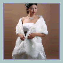 DiVA Classic Long White Ivory Mink Faux Fur Wrap Stole  - $57.95