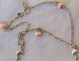 Mini dolphins silver pink anklet 3 thumb200
