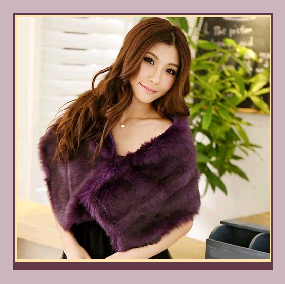 Purple Dyed Mink Faux Fur Stole Shawl Tippet Bridal Wrap