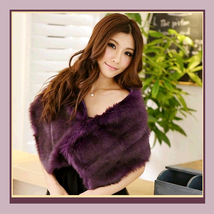 Purple Dyed Mink Faux Fur Stole Shawl Tippet Bridal Wrap - $38.33
