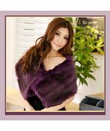 Purple Dyed Mink Faux Fur Stole Shawl Tippet Bridal Wrap - $38.33