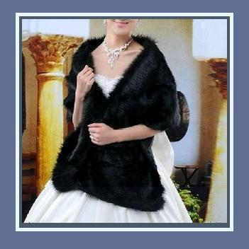 Luxurious Long Black Mink Faux Fur Wrap Stole