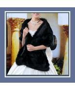Luxurious Long Black Mink Faux Fur Wrap Stole - $53.21