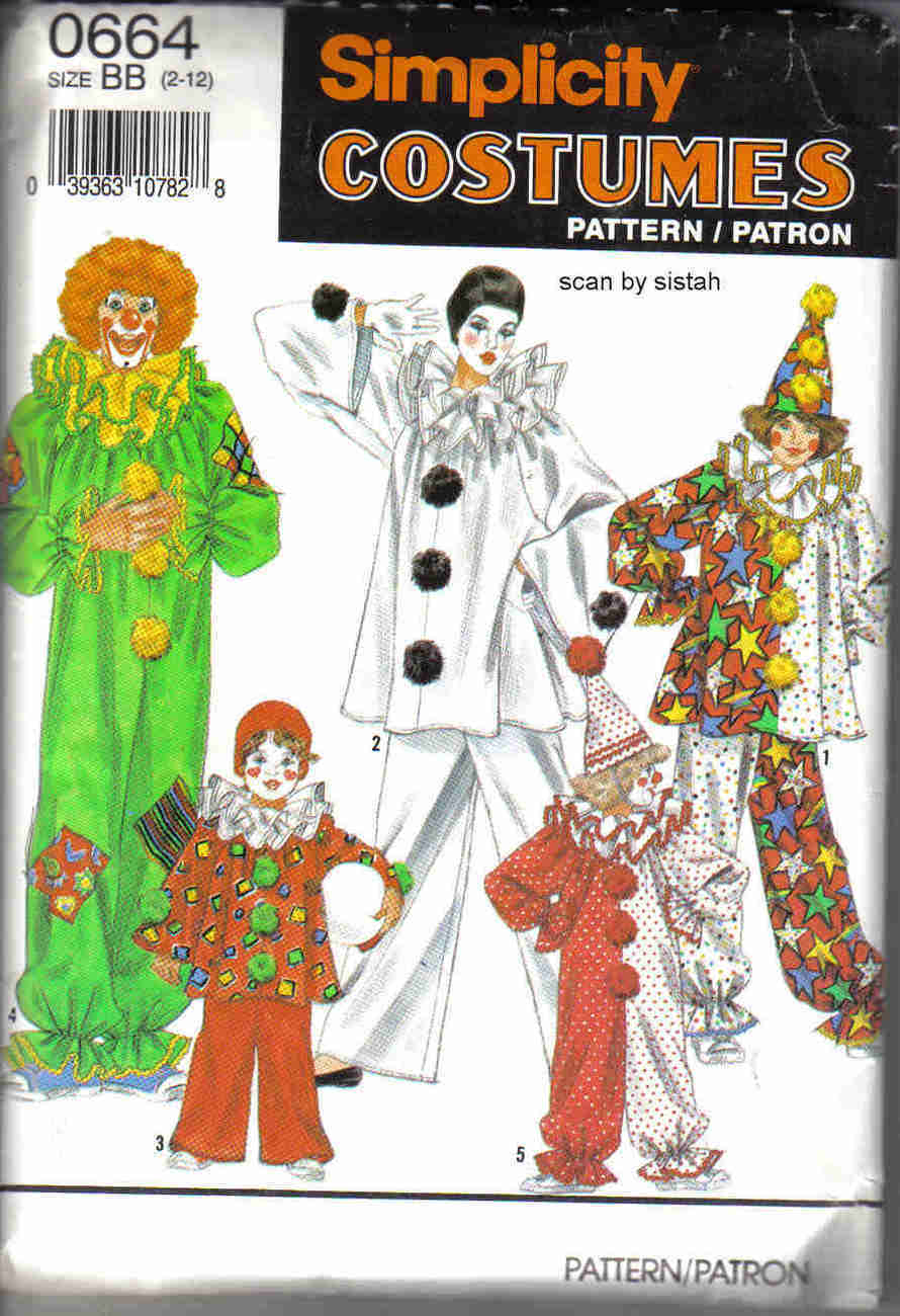Simplicity 0664 Pattern Clown 2 4 6 8 10 12 boy girl child costume