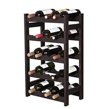 VASAGLE Wood 20 Wine Display Rack, Standing Bottles Storage Shelf, Wobbl... - $34.05