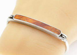 925 Sterling Silver - Vintage Jasper Inlay Smooth Petite Bangle Bracelet... - $59.09