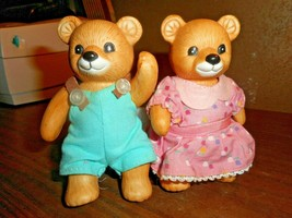 HOMCO Bear Figurines Fully Articulated Original Clothing Set Of Two Cera... - $19.79