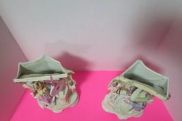 """Vintage Ceramic Bisque Set Of 2 Planters Flower Pots Victorian Theme 9""""T... - $39.60"""