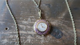 "Vintage BUCHERER Gold and Purple Enamel 17 Jewel Pendant 23"" Necklace Wa... - $296.99"