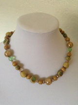 Vintage Gold Tone Bead Pottery Round Crystal Gem Chunky Beaded Fashion N... - $35.00