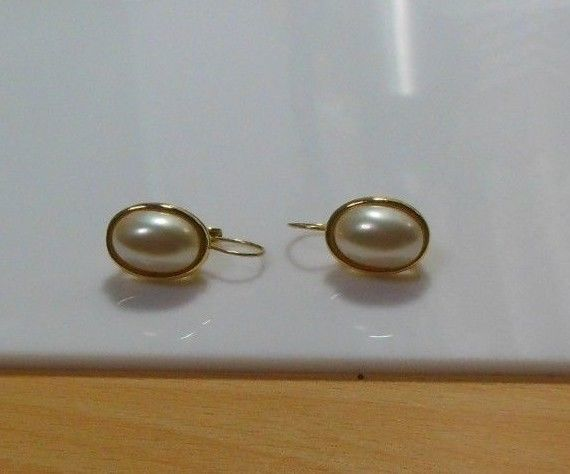 Primary image for Vintage Signed LCI  Liz Claiborne Gold-tone Oval Faux Pearl Lever-Back Earrings