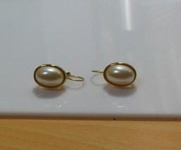 Vintage Signed LCI  Liz Claiborne Gold-tone Oval Faux Pearl Lever-Back E... - $18.32