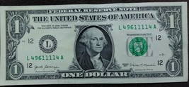 One US Dollar Bank Note w/ Quad 1111 Serial Number L49611114A - $4.95