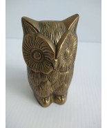 "Vintage Brass Owl Figure Paperweight Bird 4"" Tall, almost 1 LB - $18.99"