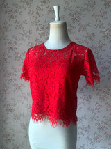 2021 Red Lace Crop Top Short Sleeve Plus Size Wedding Bridesmaid Red Crop Tops  image 1