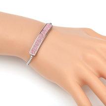 UNITED ELEGANCE Silver Tone Bolo Bar Bracelet With Pink Swarovski Style ... - $22.99