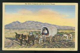 Desert Prospector Covered Wagon 1941 Tortilla Flat Postmark Linen Postcard - $6.69