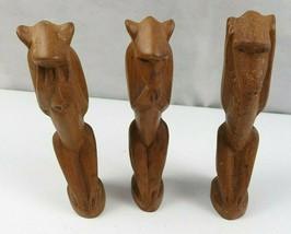 Lot of 3 Vintage African Wood Hand Carved Monkeys Figure See Hear Speak No Evil  image 2