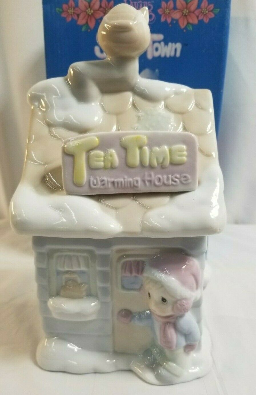 "Primary image for 1994 PRECIOUS MOMENTS Sugar Town ""Tea Time Warming House Tea Canister"" #603317"