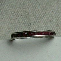 ART DECO STERLING Signed Red Stone Stackable Eternity Ring WS Spratling 8 - $19.24