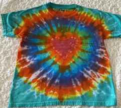 Gildan Boys Red Orange Yellow Green Blue Purple Teal HEART Tie Dye Shirt 6-8 - $12.13