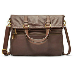 NWT Fossil Explorer Fold Over Tote Espresso Brown Pebble Leather SHB1521... - $154.99