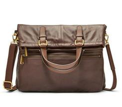 NWT Fossil Explorer Fold Over Tote Espresso Brown Pebble Leather SHB1521206 $268 - $149.99