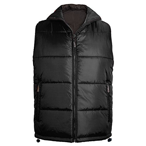 Maximos Men's Reversible Water Resistant Zip Up Puffer Vest (Large, Black/Black)