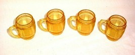 4 VINTAGE AMBER GLASS ROOT BEER BARREL MUGS TOOTHPICK HOLDERS CORDIAL CUPS - $25.73