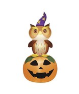 6-Ft. LED Lighted Airblown Inflatable Halloween Pumpkin Owl Eyes Open an... - $59.99