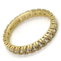 18K YELLOW GOLD ETERNITY BAND RING, WHITE CUBIC ZIRCONIA, THICKNESS 3 MM image 2