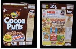 Cocoa Puffs Nestle Crunch Vintage Cereal Box Flat Empty Box - $16.99