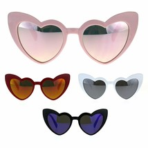 Womens Heart Shape Color Mirror Cat Eye Plastic Groovy Sunglasses - $9.95